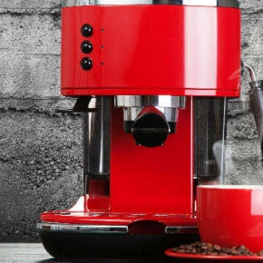 Red Coffee Machine And Tea Cup