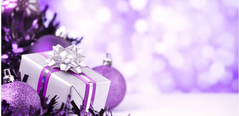 Purple Christmas Present And Decorations