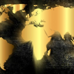 World Map In Gold