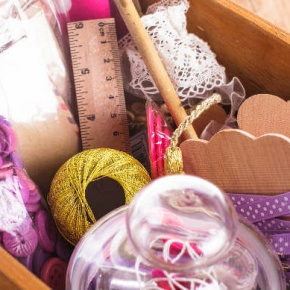 Craft Tools in Wooden Box