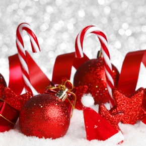 Red Candy Canes Baubles And Ribbon