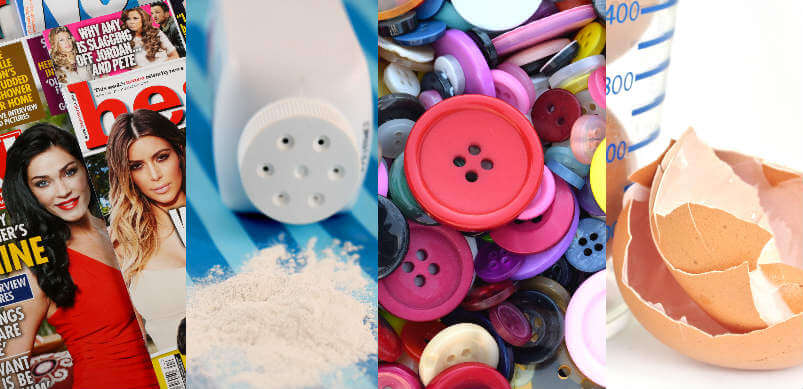 Magazines Powder Buttons And Egg Shell