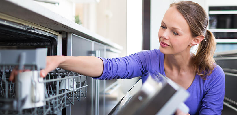 Woman Opening Dishwasher Door