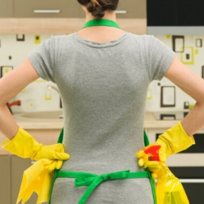 Female Cleaning Kitchen