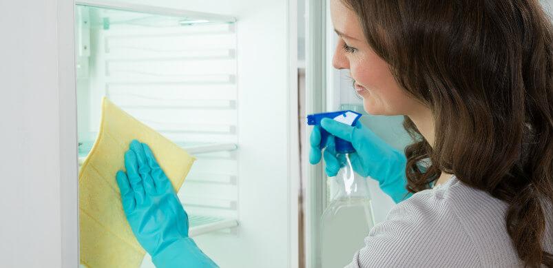 Female Cleaning Fridge
