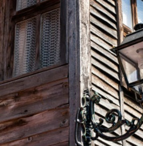 wooden Window With Lamp