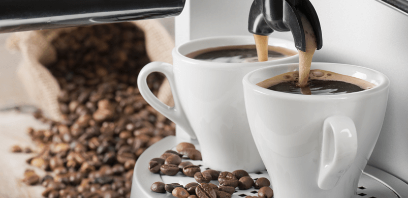Coffee Machine With Cups And Beans