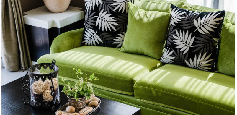 Black And Green Sofa And Table