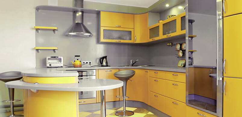 Kitchen With Yellow Decor