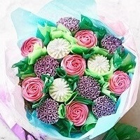 White Pink And Purple Cupcake Bouquet