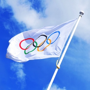 Flagpole With Olympic Games Flag
