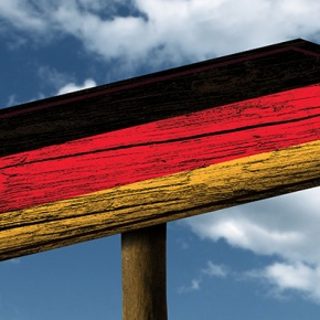 German Flag On Signpost