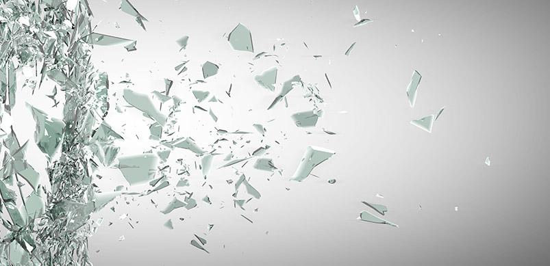 Glass Shards Flying Through Air