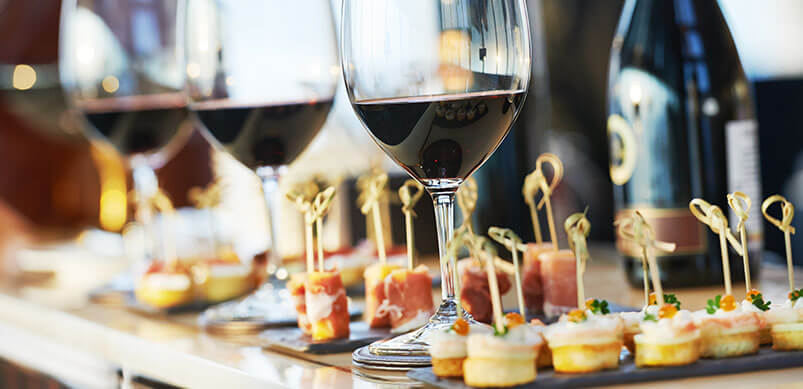 Party Canapes And Wine