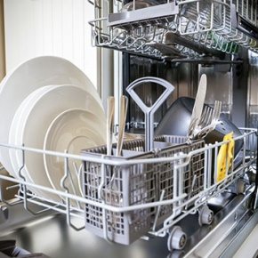 Open And Loaded Dishwasher