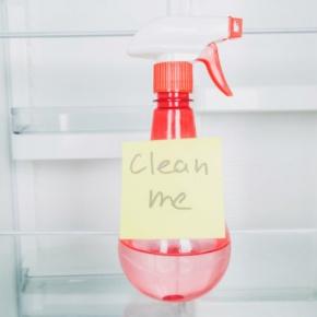 Spray Bottle Inside Fridge With Words 'Clean Me'