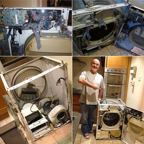 Annie's photo of Husband And Taken Apart Washing Machine