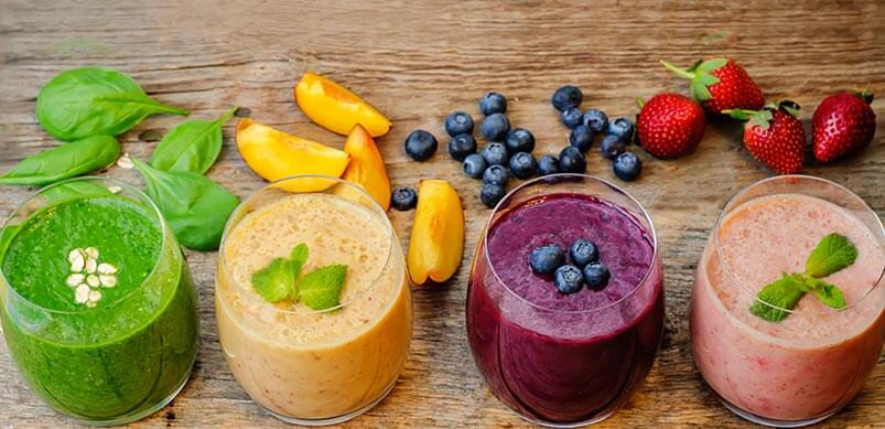 Colourful Fruit And Vegetable Smoothies
