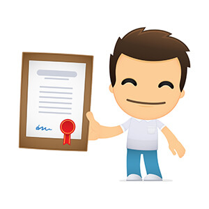 Cartoon Man Holding Certificate