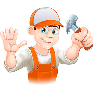 Cartoon Man Holding Hammer