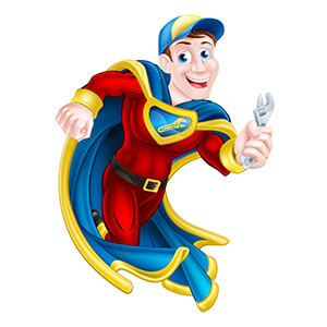 Superhero With Cape And Spanner