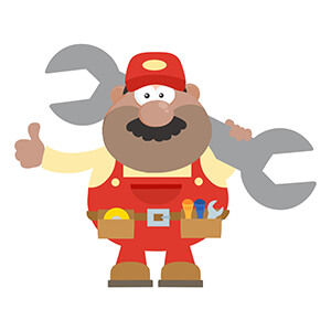 Cartoon Man Holding Spanner