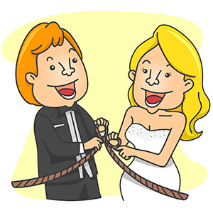 Cartoon Couple Tying the Knot