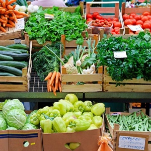 Fruits And Vegetables On Stall