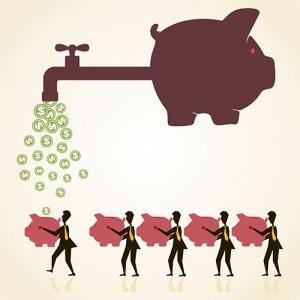 Business Men Using Piggybanks To Save Money