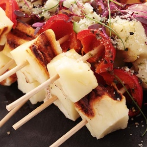 Barbecued Halloumi And Pepper Kebabs