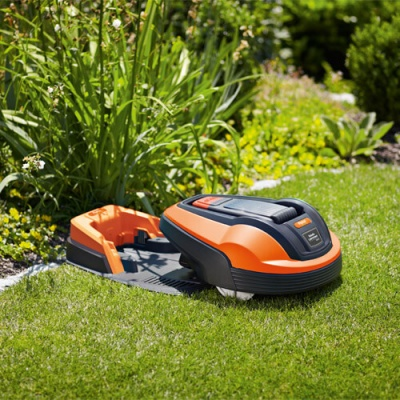 Flymo Robot Lawn Mower On Charging Station