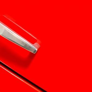 Red Fridge Door With Scratch