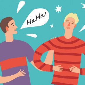 Two Men Sharing Jokes