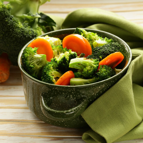 Broccoli And Carrots In Pot