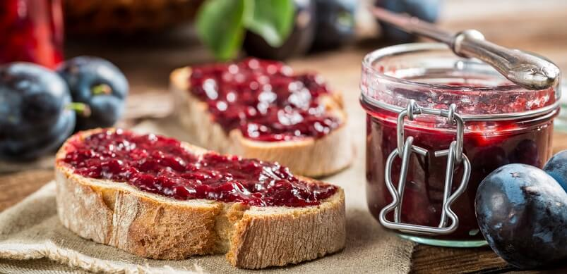 Fresh Berries and Jam on Bread