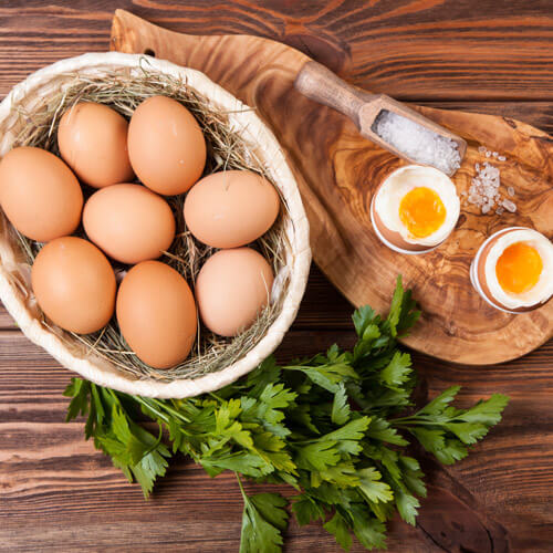 Eggs In Basket And Boiled Eggs