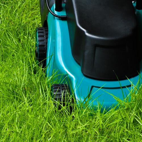 Lawmower On Garden Lawn