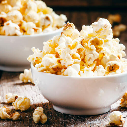 Popcorn In White Bowl