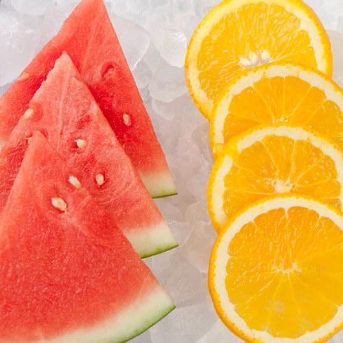 Watermelon And Orange On Ice