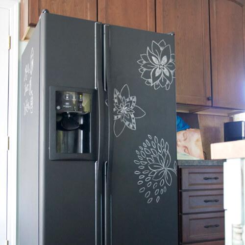 Chalkboard Fridge With Drawn On Flowers