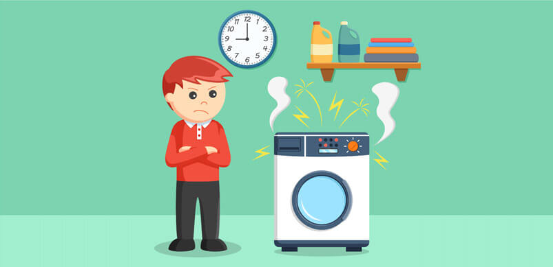 Man Stressed About Broken Washing Machine