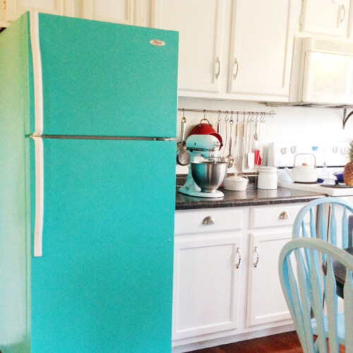 Turquoise Fridge In Kitchen