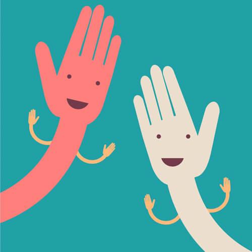 Two Cartoon Hands With Hands