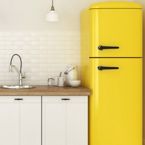 Yellow Fridge In White Kitchen