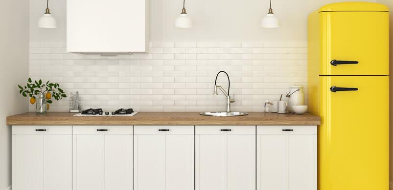Yellow Fridge In White Kitchen