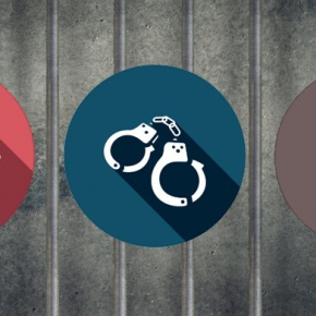 Appliance And Crime Themed Graphics On Jail Background