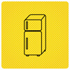 Black Fridge On Yellow Background