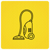 Black Vacuum Cleaner On Yellow Background