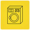 Black Washing Machine On Yellow Background