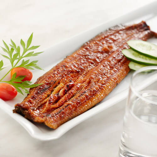 Cooked Eel On White Plate